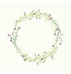 Watercolor round floral frame hand draw herbal vector