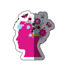 Fuchsia contour human with colors gear icon vector