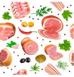 Background seamless with meat products ham bacon vector