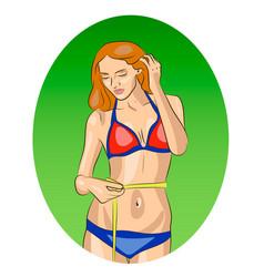 fitness girl in bikini measuring her waist vector image