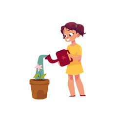 little girl watering houseplant pot flower vector image