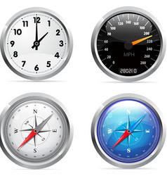 Clock speedometer and compass set vector
