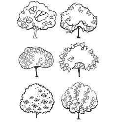 Different types tree silhouettes vector