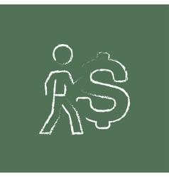 Businessman with a big dollar symbol icon drawn in vector