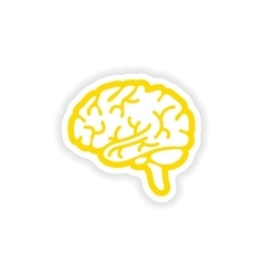 Paper sticker on white background human brain vector