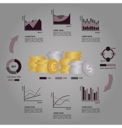 Set of financial infographics elements arranged in vector