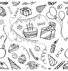 Doodle pattern happy birthday vector