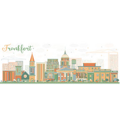 Abstract frankfort skyline with color buildings vector
