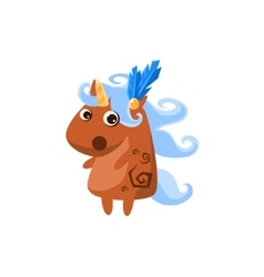 Brown unicorn with feather in hair vector