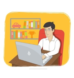Business man working on laptop Online business and vector image vector image