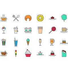 Cafeteria food colorful icons set vector image vector image