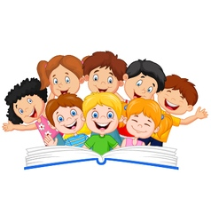 Cartoon little kid reading book funny vector