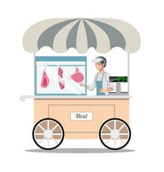 Cartoon street fresh meat store vector