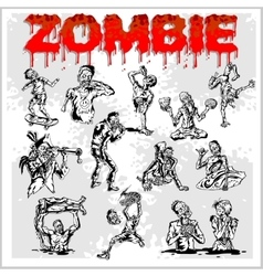 Cartoon zombie - set vector image