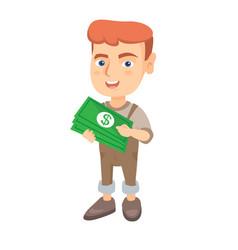 caucasian boy holding money in hands vector image