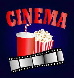 Cinema background with popcorn box film strip vector