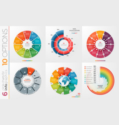 Collection of 6 circle chart templates 10 vector