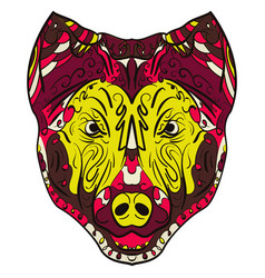 Colorful dog zentangle stylized head vector
