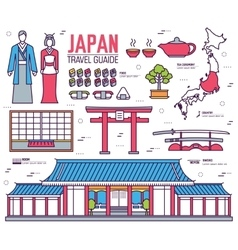 Country japan trip of goods places and features vector