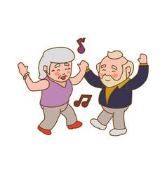 Couple elder dancing gesture vector
