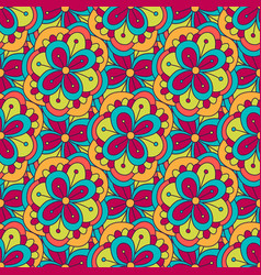 Doodle floral pattern seamless background for vector
