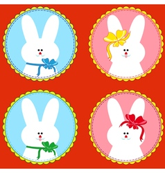 Four funny rabbits in round frameworks vector image vector image