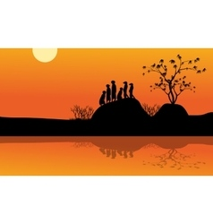 Meerkat in lake of silhouette vector