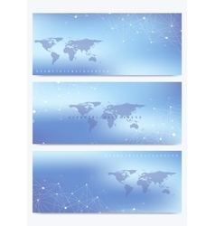Modern set of banners with world map vector