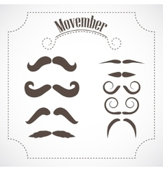 Movember mustache set vector