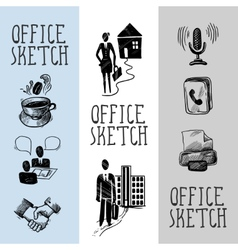 Office sketch banner design vector image vector image