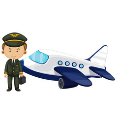 Pilot and airplane on white background vector