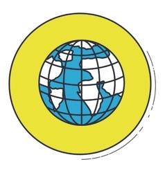 Planet sphere inside green button design vector