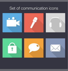 set of communication icons in flat style with vector image vector image
