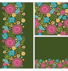 Set of vibrant summer plants seamless pattern and vector