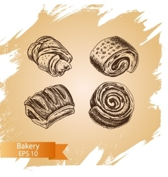 sketch - bakery buns puffs vector image vector image