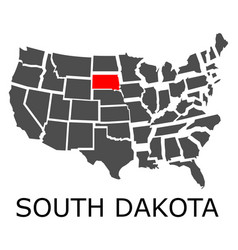 State of south dakota on map of usa vector