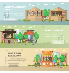 Street food festival concept banners vector