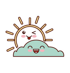 Summer sun with cloud scene kawaii character vector