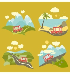 Summer vacation trip icons set vector image vector image
