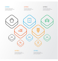 transport outline icons set collection of taxi vector image vector image