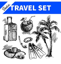 Travel and holiday set Hand drawn sketch vector image vector image