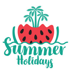 Travel summer banner with watermelon and palms vector