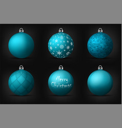 Turquoise christmas balls with silver holders set vector