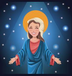 Virgin mary spiritual bright background vector