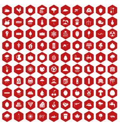 100 fruit icons hexagon red vector