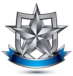 Branded metallic geometric symbol with curvy vector