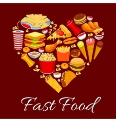 Fast food meal poster heart shape vector