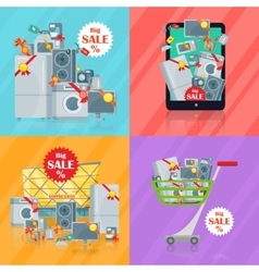 Set of banners household appliances e-commerce vector