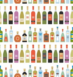 Seamless pattern with alcohol bottles vector