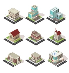 City buildings and roads isometric set vector